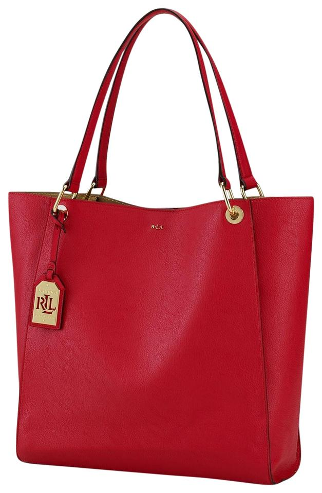 Lauren Ralph Lauren Aiden N S Red Leather Tote - Tradesy 9ebb60a64633a