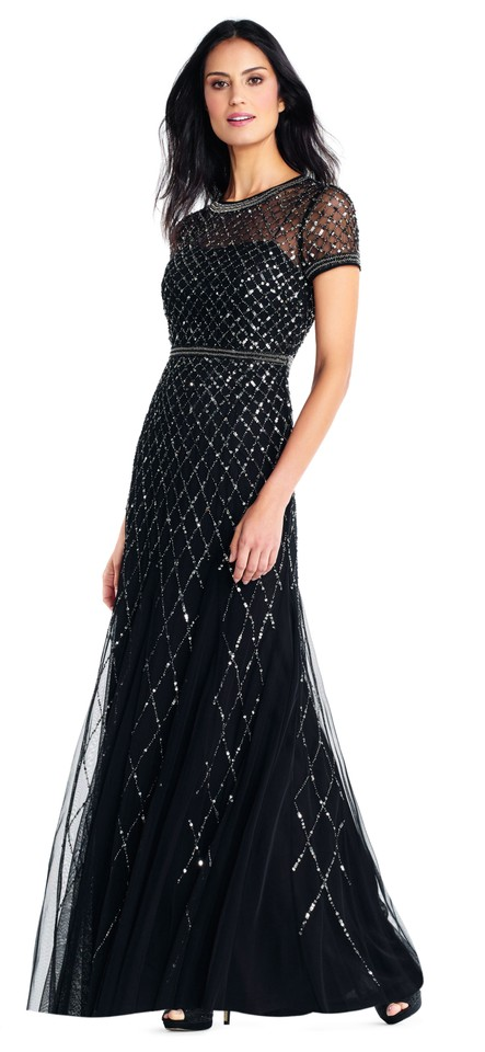 Adrianna Papell Black Short Sleeve Beaded Mesh Gown Long Formal