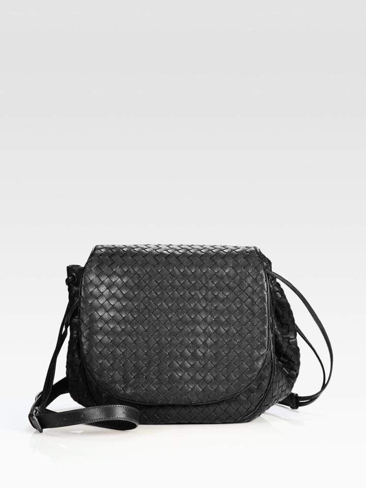 Bottega Veneta Intrecciato Woven Flap Black Leather Cross Body Bag ... da82ed568f4ee