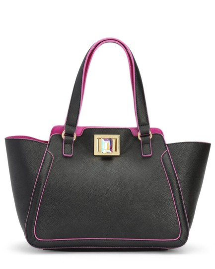 Preload https://img-static.tradesy.com/item/2242088/juicy-couture-wild-wing-black-with-fuchsia-trim-leather-tote-0-0-540-540.jpg