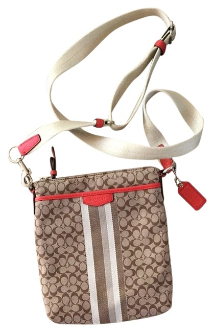 Coach Cc Monogram Brown and Coral Leather Canvas Cross Body Bag Coach Cc Monogram Brown and Coral Leather Canvas Cross Body Bag Image 1