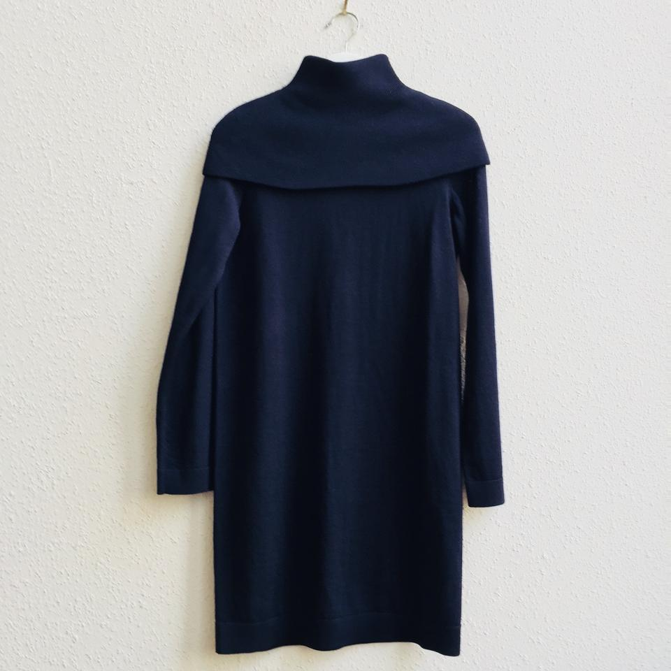 f50918cdf2fa7 COS Navy Blue Fold-over Cape Turtleneck Sweater Short Work/Office ...