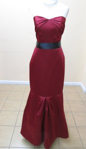 Impression Bridal Claret/Black Satin 1689 Formal Bridesmaid/Mob Dress Size 12 (L)