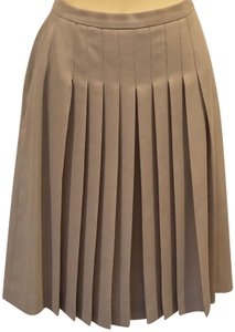 Burberry Pleated Wool Blend Skirt Tan