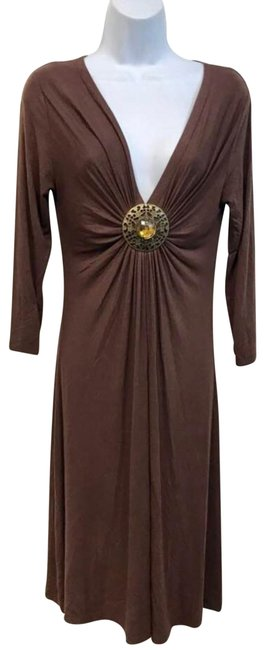 Item - Brown Brooch Accent Stretchy Mid-length Short Casual Dress Size 8 (M)