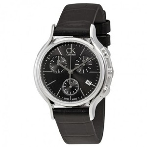 Calvin Klein CK Black Chronograph Date Ladies Leather Watch