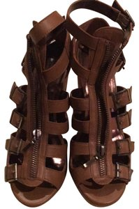 Twelfth St. by Cynthia Vincent camel leather Wedges