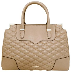 Rebecca Minkoff Leather Quilted Structured Gold Hardware Satchel in Khaki