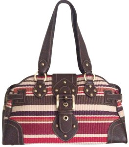 Rafe Large Satchel in multi colors, red, brown, cream
