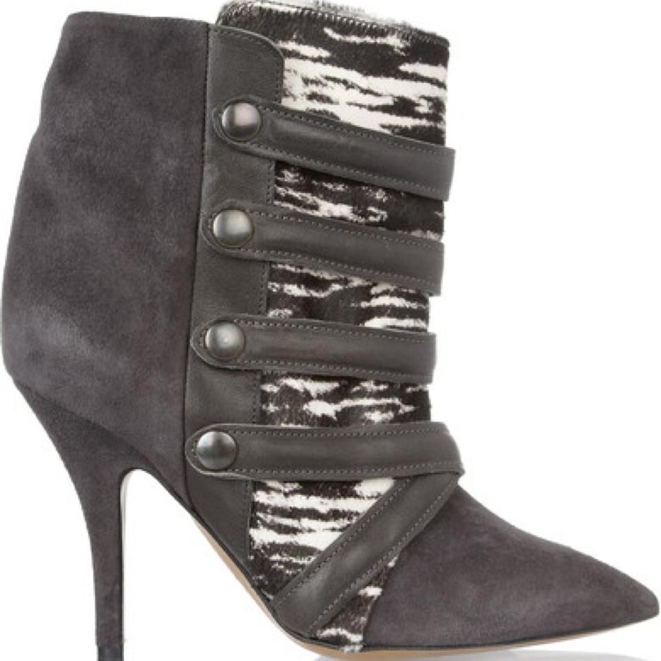 Leather Suede and Isabel Boots Calf Printed Black Booties White Hair Marant Gray qZqrEnzF