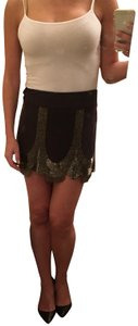 Silence + Noise Beaded 1920s Flapper Mini Skirt Gray