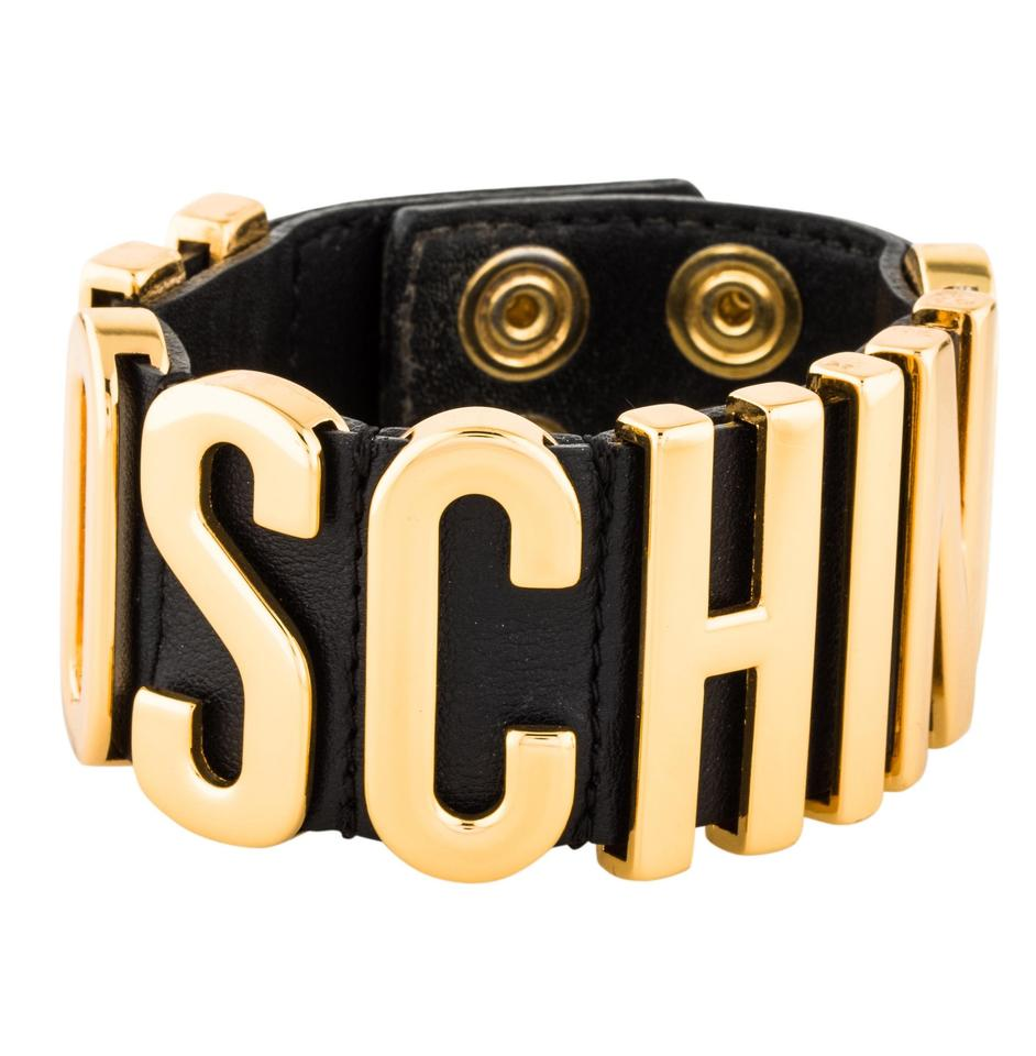 Moschino Black Leather Letter Logo Wrap Bracelet