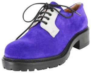 Emporio Armani Women Lace Up Oxford Suede Purple Flats