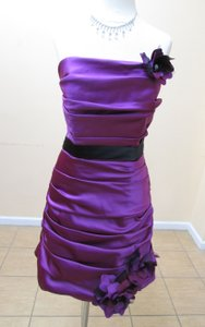 Impression Bridal Passion/Black Satin 20023 Formal Bridesmaid/Mob Dress Size 10 (M)