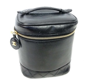 Chanel CHANEL Quilted Leather Vanity Cosmetic Purse Handbag Black