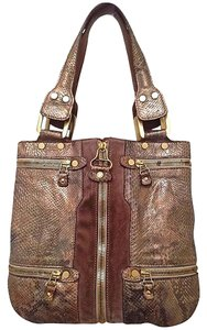 Jimmy Choo Snakeskin Tote Hobo Suede Shoulder Bag
