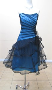 Impression Bridal Turquoise/Black Netting / 20063 Formal Bridesmaid/Mob Dress Size 10 (M)
