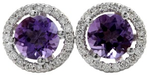 Other 2.03CTW Natural Purple Amethyst & Diamond in 14K Solid White Gold Stud