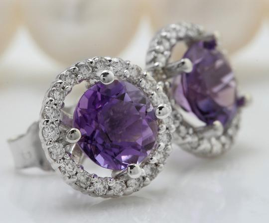 Other 2.03CTW Natural Purple Amethyst & Diamond in 14K Solid White Gold Stud Image 1