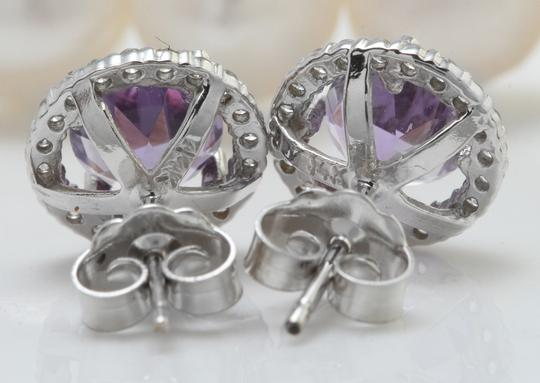 Other 2.03CTW Natural Purple Amethyst & Diamond in 14K Solid White Gold Stud Image 2