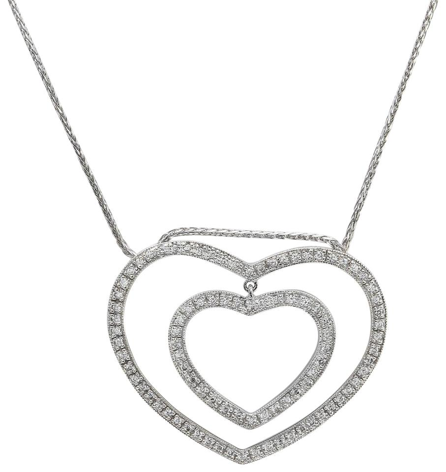 14k white gold 50ctw natural diamond in solid heart pendant charm other 50ctw natural diamond in 14k solid white gold heart pendant aloadofball Images