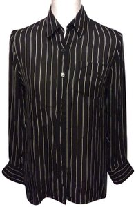 Ralph Lauren Button Down Shirt Black pin stripe