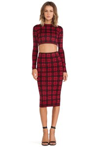 Torn by Ronny Kobo Torn by Ronny Kobo Red Plaid Skirt Suit