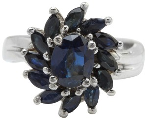 Other 2.52 CTW Natural Blue Sapphire in 14K Solid White Gold Women Ring
