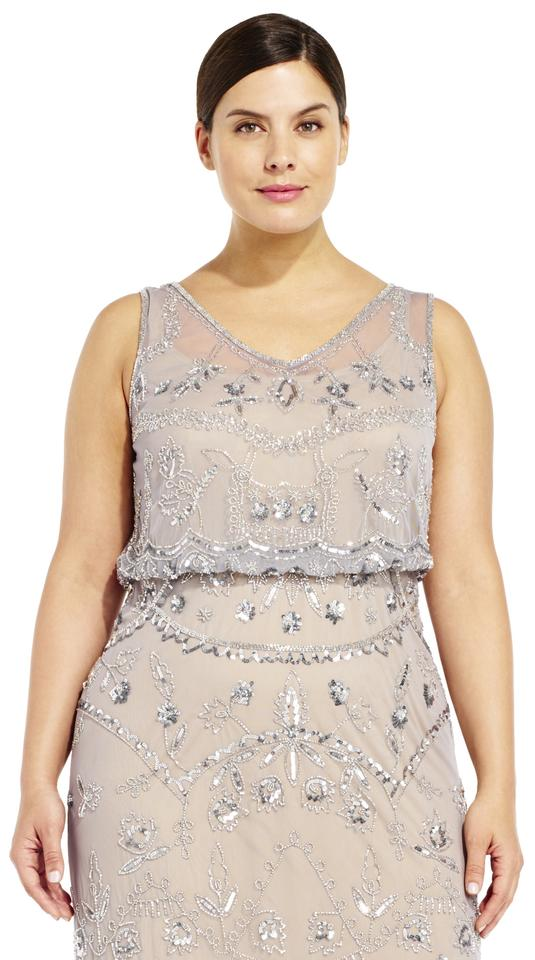 2578babe4d38 Adrianna Papell Silver Grey Sleeveless Beaded Blouson Gown with ...
