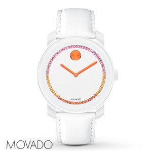 Movado NWT Bold White Dial White Leather Strap Watch 3600250