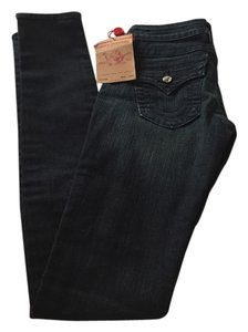 True Religion Swarovskielements Straight Leg Jeans-Dark Rinse