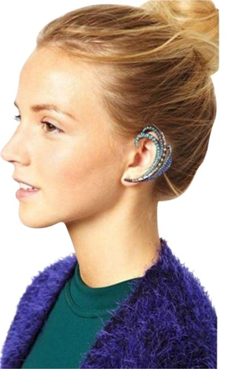 Crystal Ear Jewels Swirl Gold Plated Multi Crystal Ear Cuff Blue Combo Image 0
