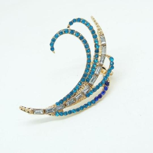 Crystal Ear Jewels Swirl Gold Plated Multi Crystal Ear Cuff Blue Combo Image 1