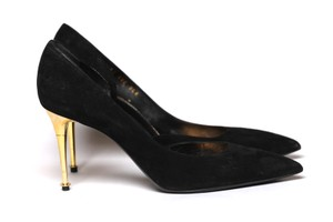 Tom Ford Suede D'orsay Gold Hardware Black Pumps