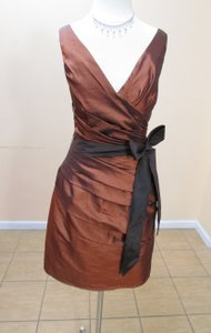 Impression Bridal Coffee/Espresso Taffeta 20079 Formal Bridesmaid/Mob Dress Size 12 (L)