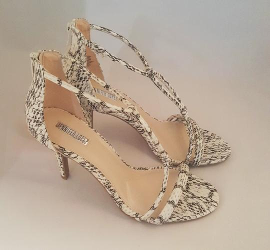JLo White and Black Snake Print Sandals Image 3