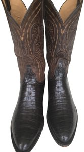 Lucchese Alligator Leather Handmade Limited Edition Chocolate Brown Boots