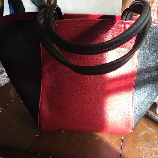 Lord & Taylor Tote in Red and Black Image 1