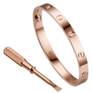 Cartier Sale!!!! Cartier Love Bracelet 4 Diamond Rose Gold Size 17