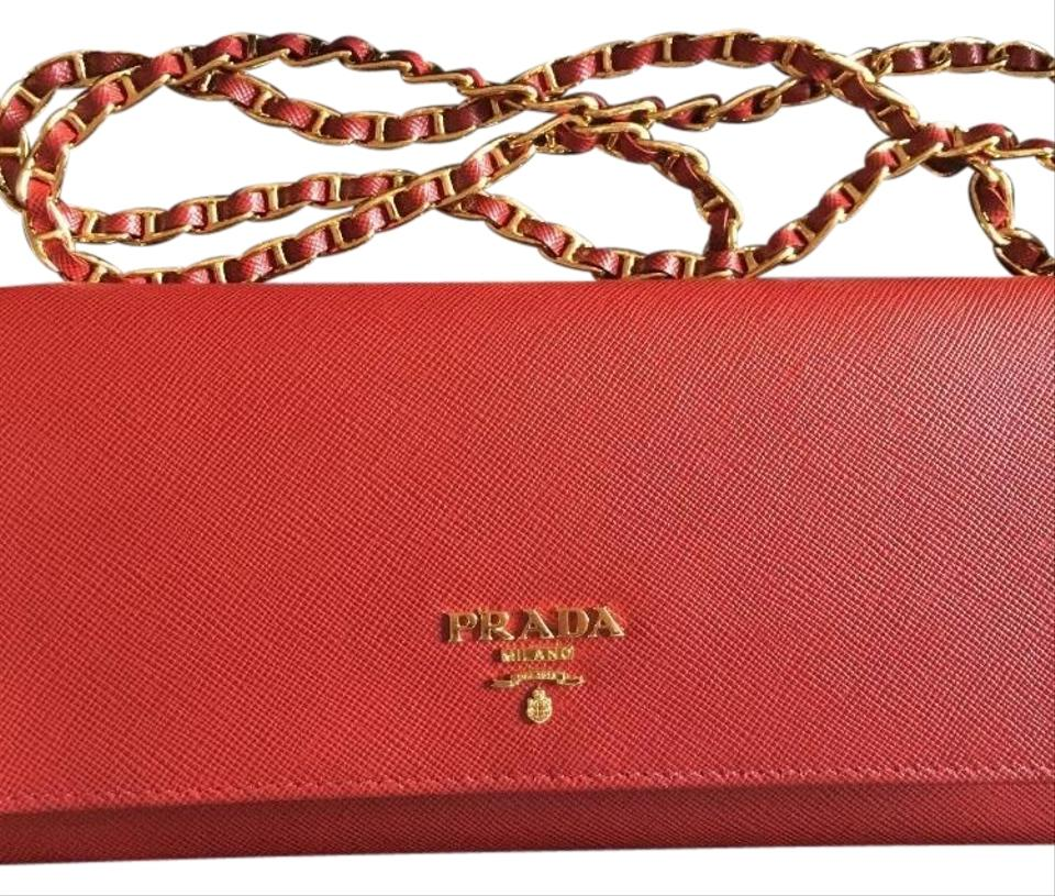 b8765be8548530 Prada Wallet On Chain Red Saffiano Leather Clutch - Tradesy