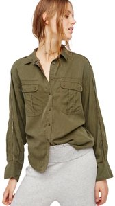 Free People Button Down Shirt Moss