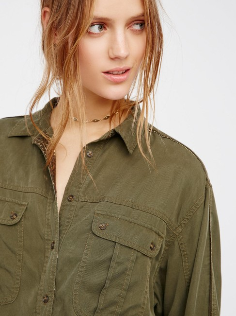 Free People Button Down Shirt Moss Image 3