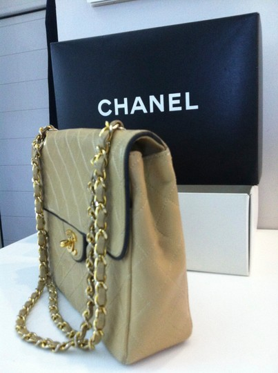 Chanel Quilted Beige Flap Convertible Crossobdy Or Clutch Black Trim Ghw Shoulder Bag