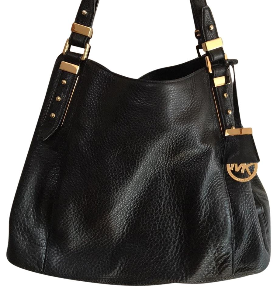 5cecc0c6582f Michael Kors Bowery Tote Black with Gold Hardware Leather Shoulder Bag -  Tradesy