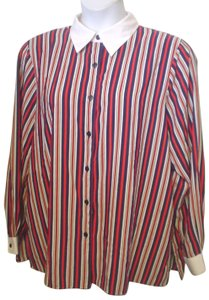 Notations 20w Plus Long Sleeve Shirt Button Down Shirt Red White Blue