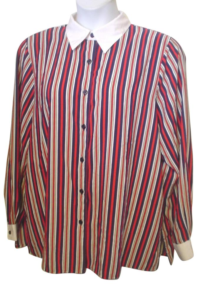 Notations red white blue silky shirt 20w career mix match for Red and white button down shirt