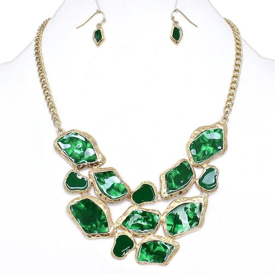 Other Fashion Necklace and Earring Green and Gold