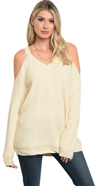 Preload https://img-static.tradesy.com/item/22424638/loveriche-ivory-sexy-cold-shoulder-tunic-new-fall-winter-holiday-sweaterpullover-size-4-s-0-3-650-650.jpg