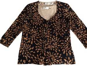 Dana Buchman Top Brown & Tan Animal Print