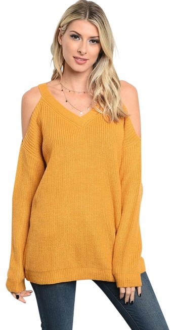 Preload https://img-static.tradesy.com/item/22424663/loveriche-mustard-sexy-cold-shoulder-tunic-new-fall-winter-holiday-sweaterpullover-size-8-m-0-3-650-650.jpg